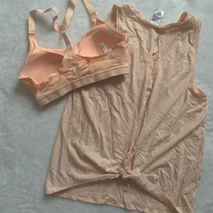 Matching top with sports bra